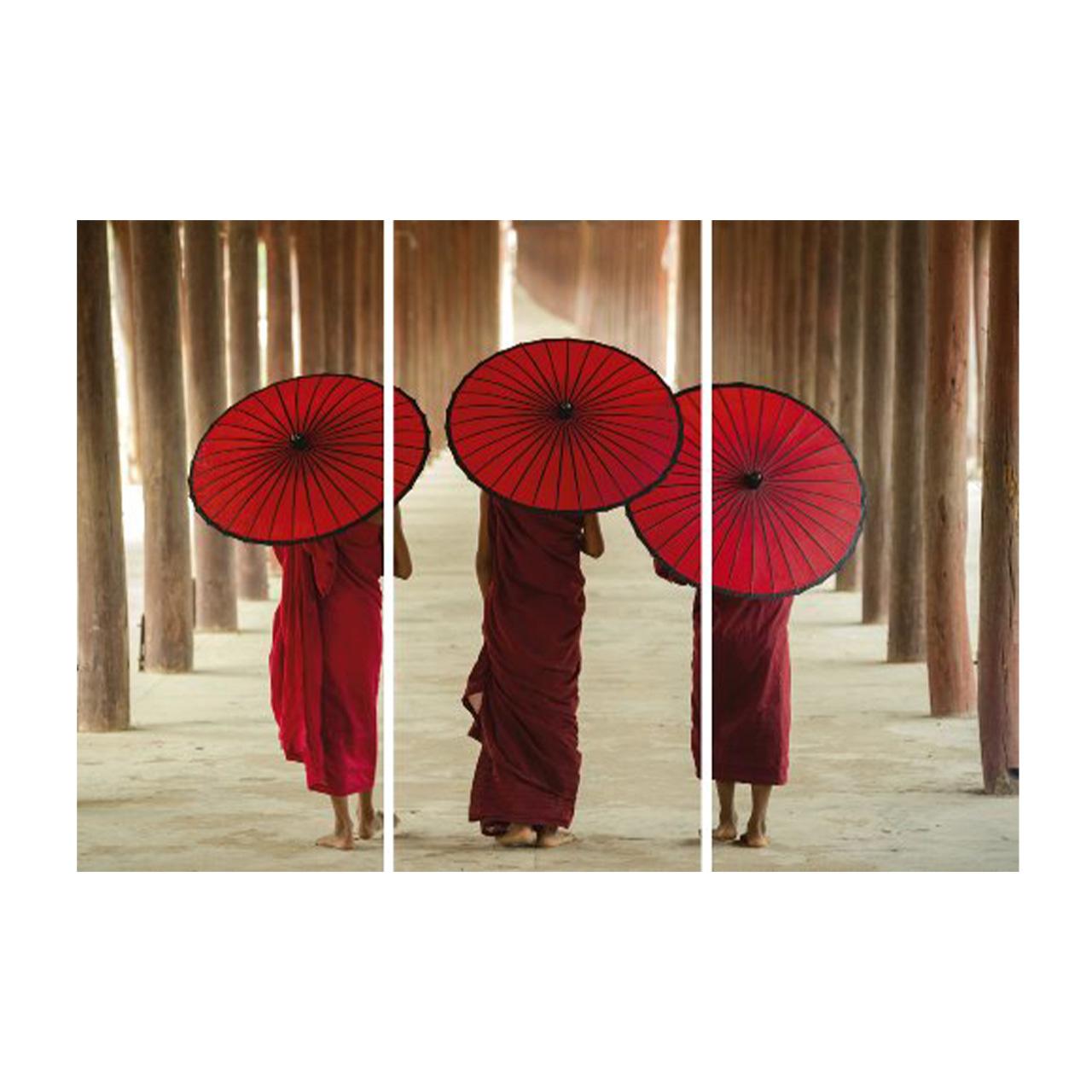 Imageland Bild Mönche mit Schirmen