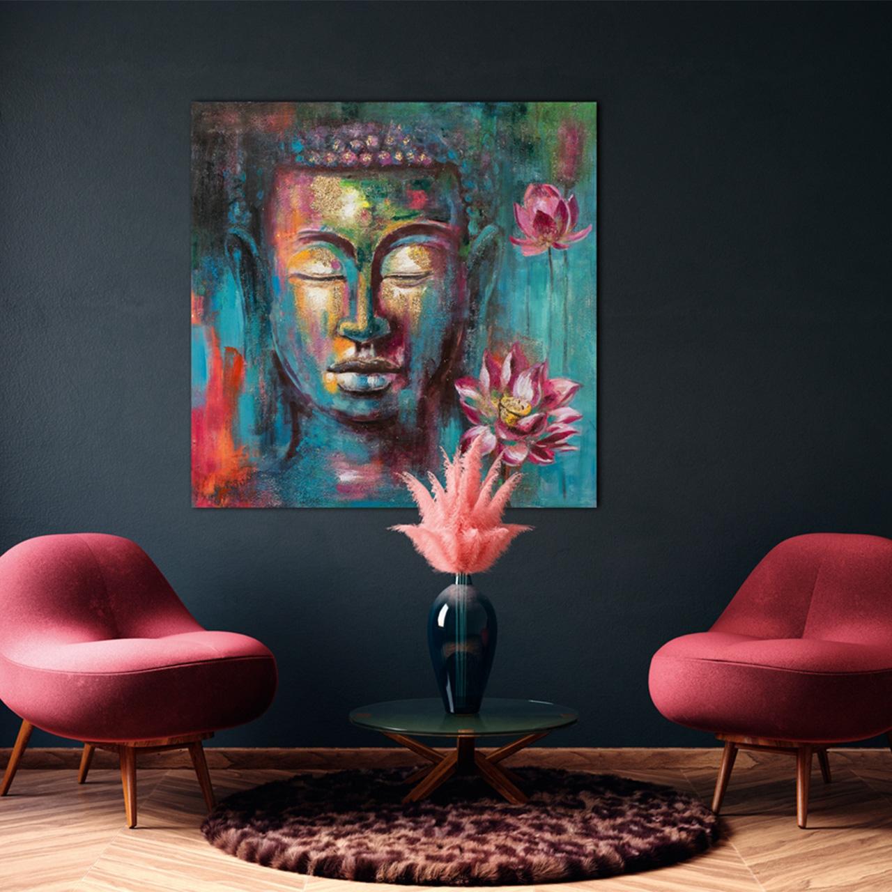 Imageland Bild Bunter Buddha mit Dahlie
