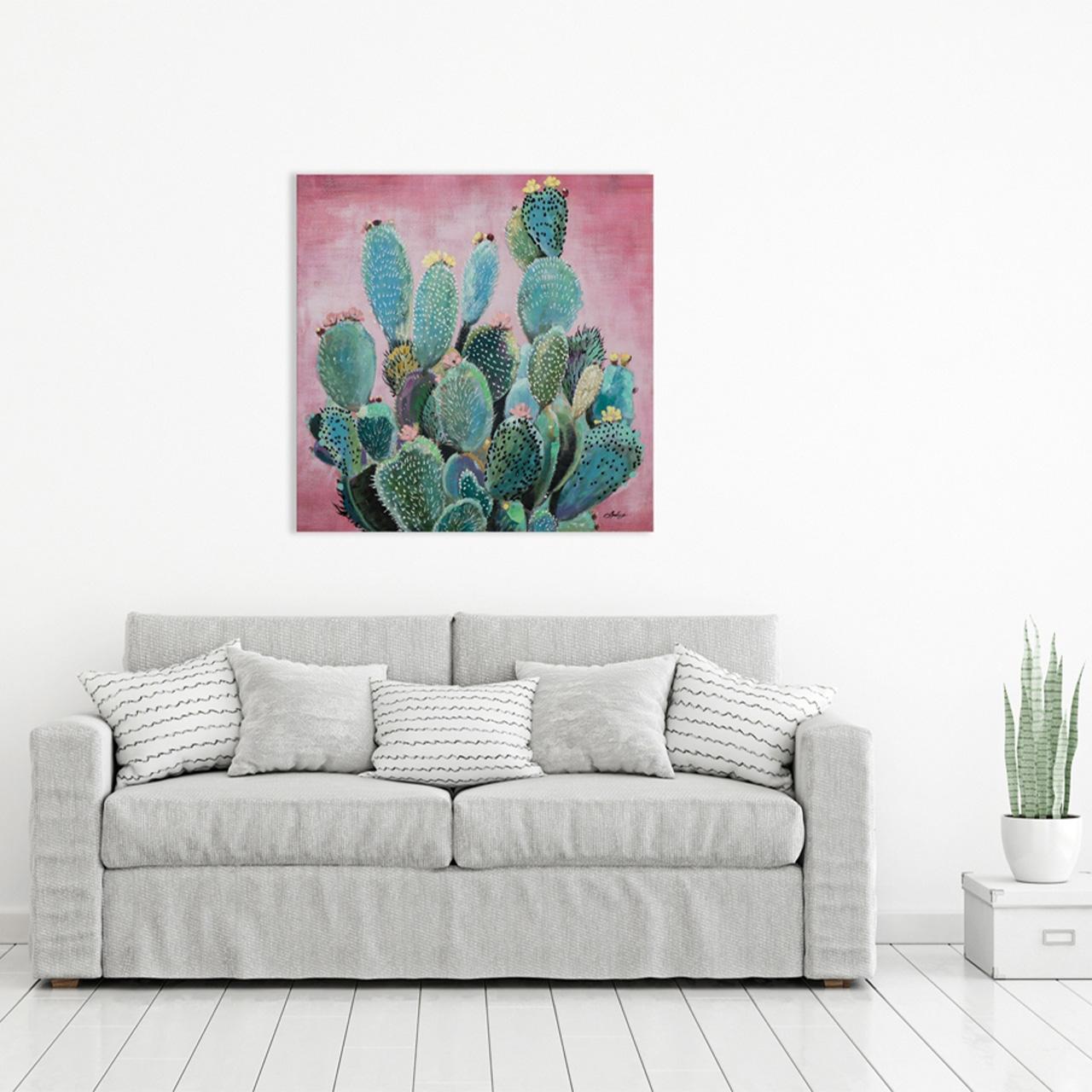 Imageland Bild Grüne Kakteen vor rosa Hintergrund