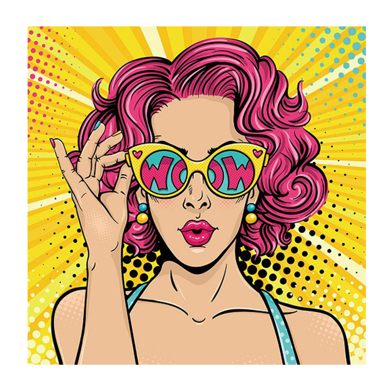 Imageland Bild Pop Art WOW mit Brille